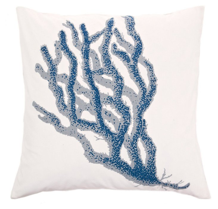 Coral 20x20 Cotton Pillow, Navy