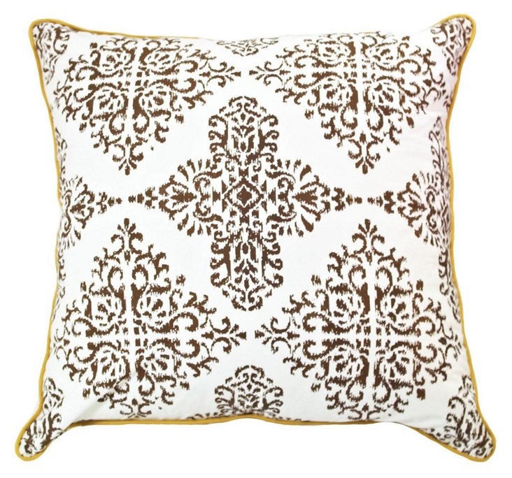 Patola 24x24 Cotton Pillow, Ebony