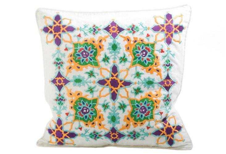 Rangoli 20x20 Pillow, White/Multi