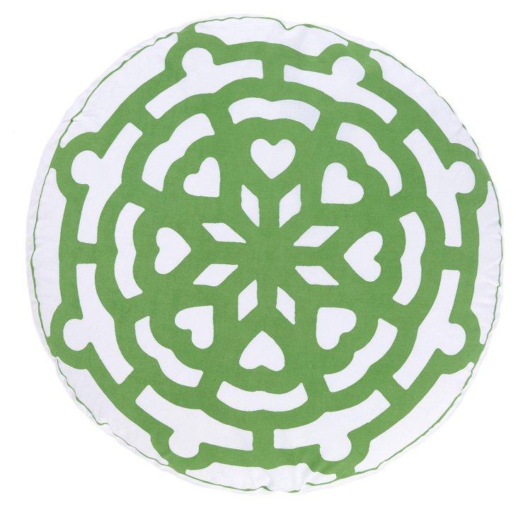 "Samay 20"" Round Cotton Pillow, Green"