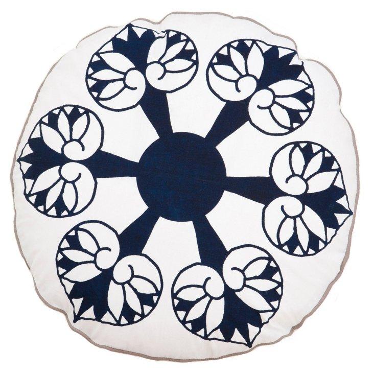 "Paan 16"" Round Cotton Pillow, Navy"