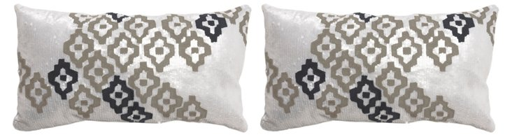 S/2 Sagar 12x22 Cotton Pillows, White