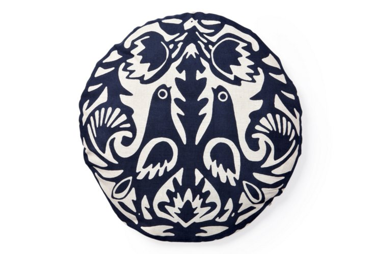 "Kaja 16"" Round Cotton Pillow, Navy"