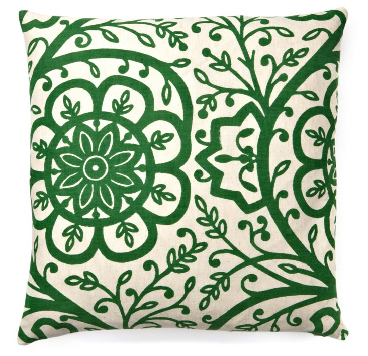Avalon 20x20 Cotton Pillow, Green