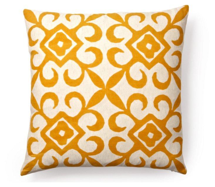 Remy 20x20 Flax Cotton Pillow, Orange