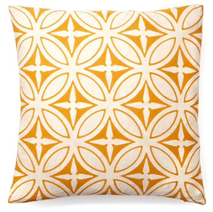 Agra 20x20 Cotton Pillow, Orange