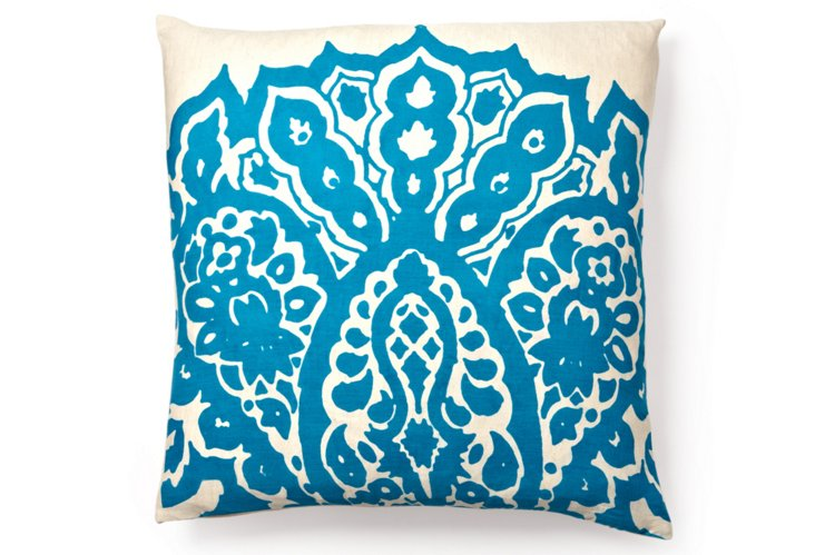 Johar 20x20 Cotton Pillow, Sea Blue