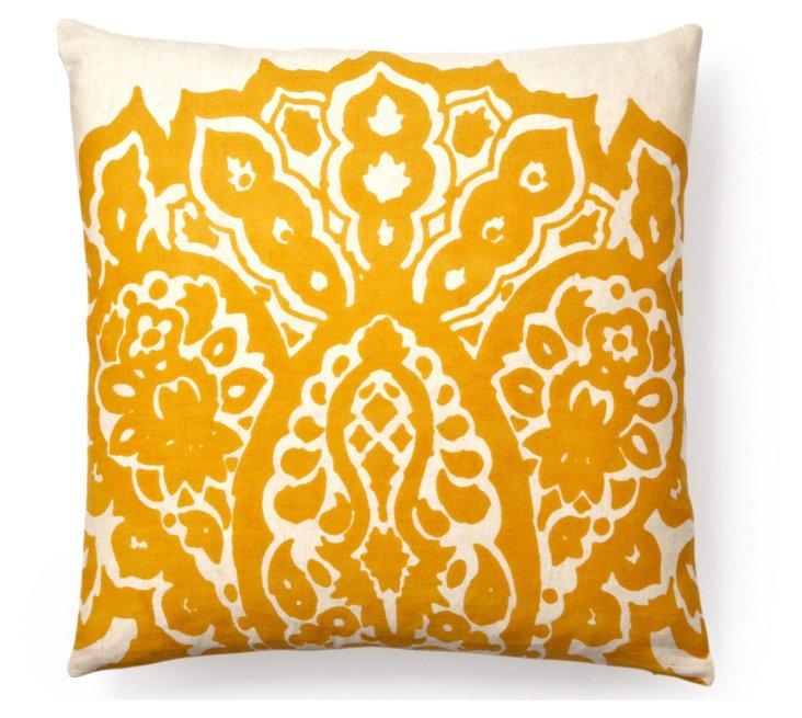Johar 20x20 Flax Cotton Pillow, Orange