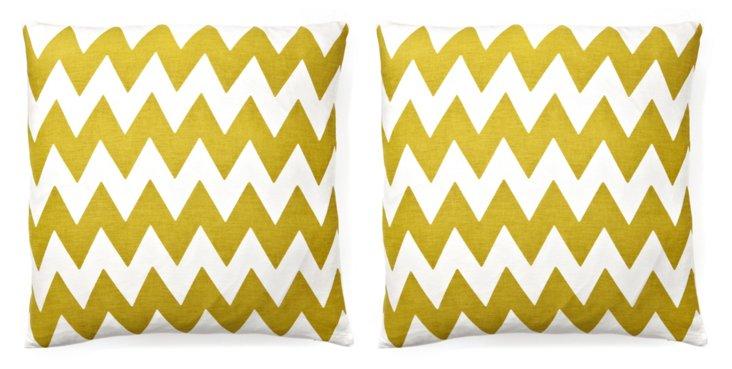 S/2 Altai 20x20 Cotton Pillows, Olive