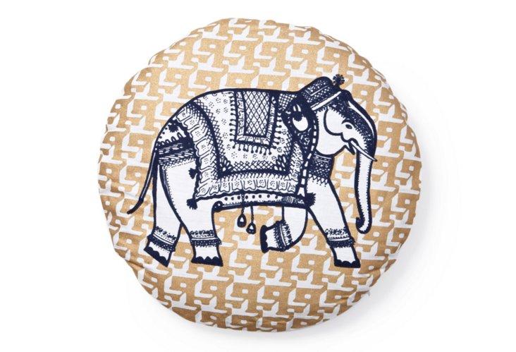 """Elephant 16"""" Round Cotton Pillow, Gold"""
