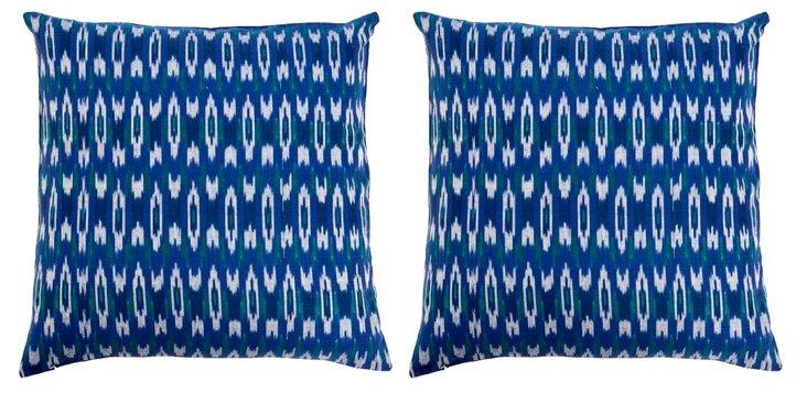 S/2 Kerela 20x20 Cotton Pillows, Navy