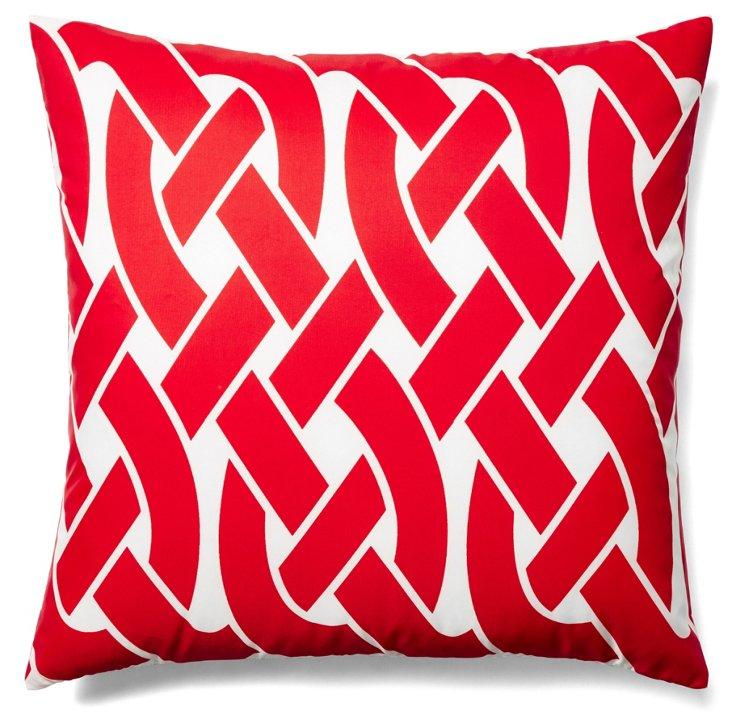 Knottica 20x20 Outdoor Pillow, Red