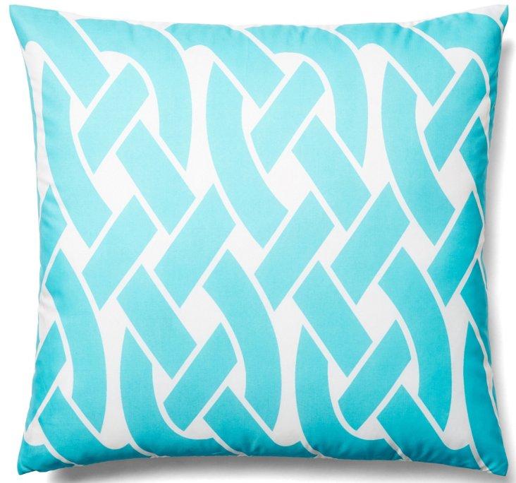 Knottica 20x20 Outdoor Pillow, Teal