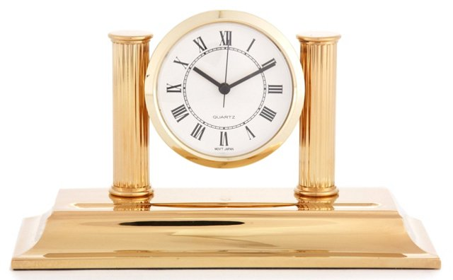 Brass Clock with Pen Tray