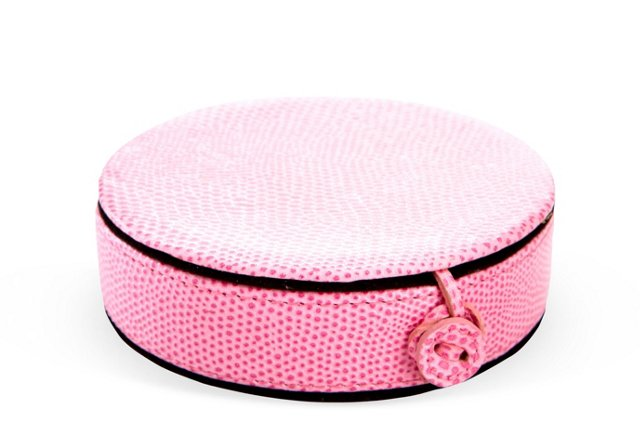 Lizard Leather Travel Jewelry Case, Pink