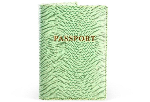 Lizard Leather Passport Holder, Green