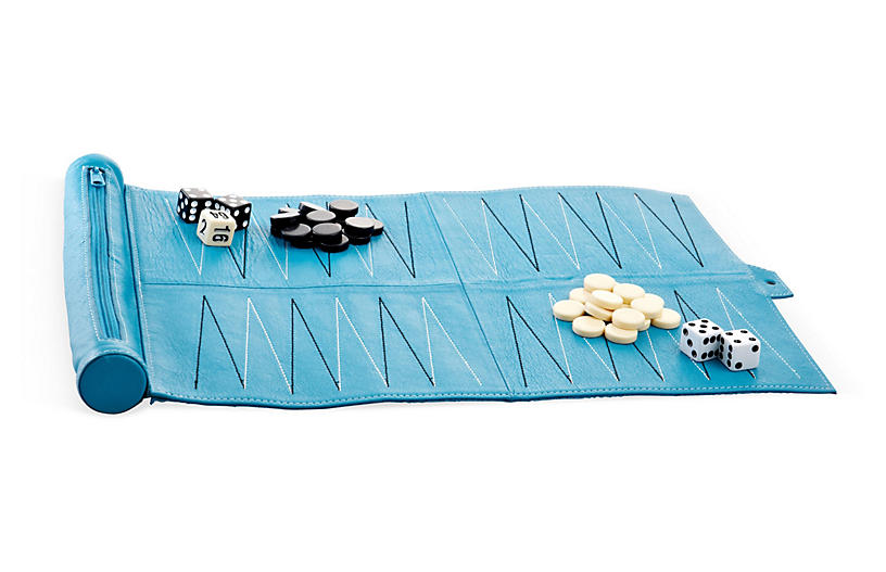 Leather Travel Backgammon Set, Aqua