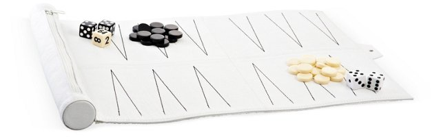 Leather Travel Backgammon Set, White