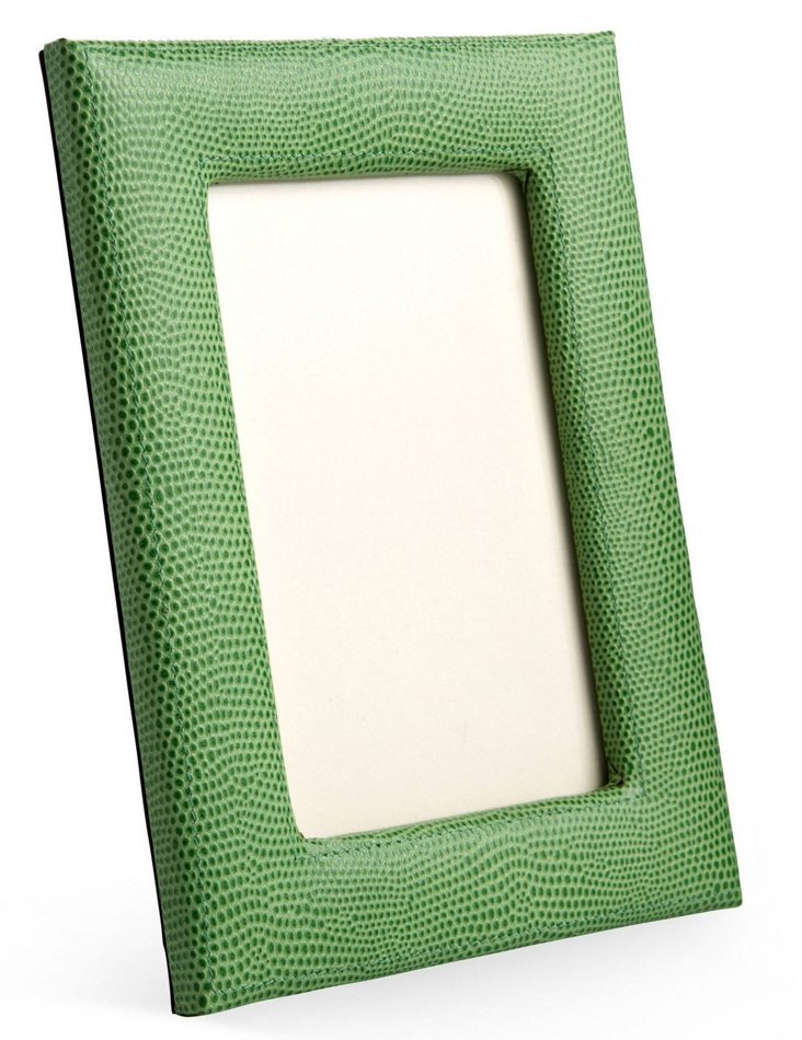 """5"""" x 7"""" Leather Picture Frame, Lime"""