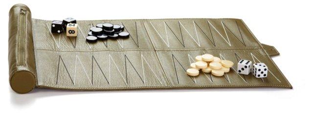 Leather Travel Backgammon Set, Green