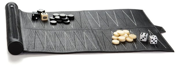 Leather Travel Backgammon Set, Black