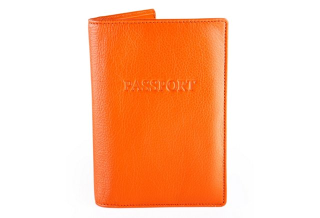 Leather Passport Holder, Orange