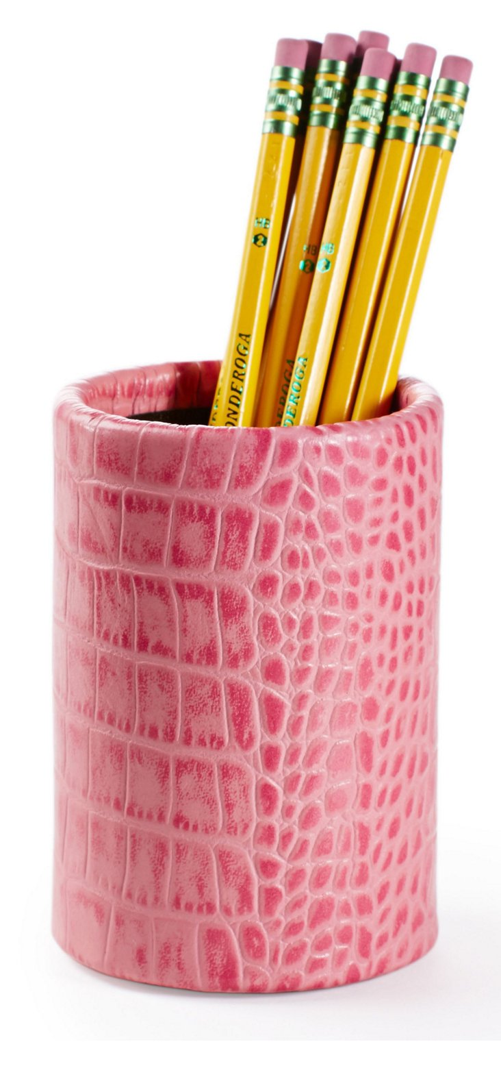Croc Leather Pencil Cup, Pink