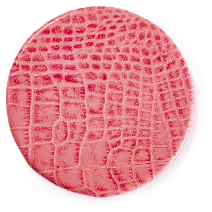 Croco Leather Round Coaster, Pink