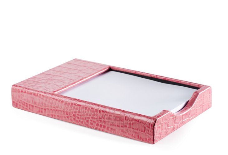Croc Leather Memo Holder, Pink