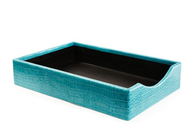 Croc Leather Letter Tray, Turquoise