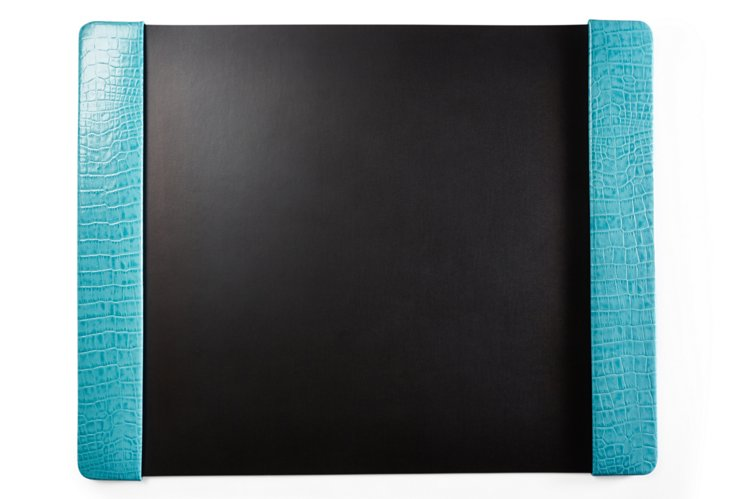 Croc Leather  Desk Pad, Turquoise