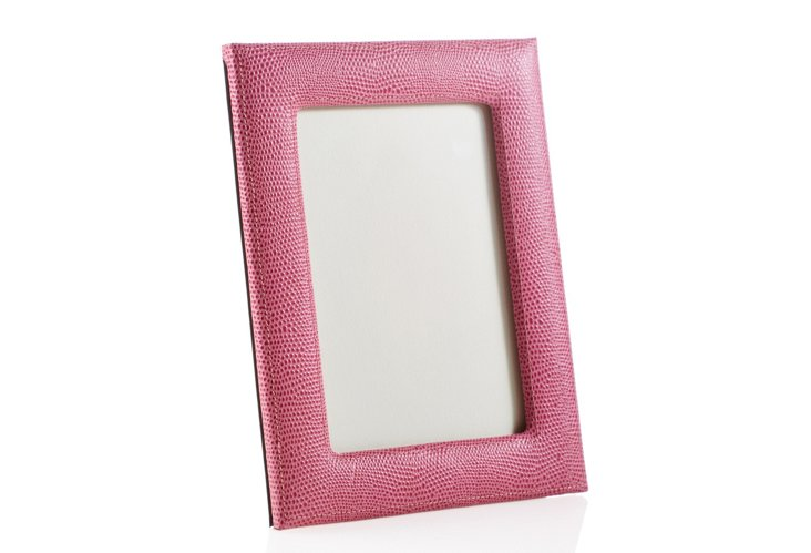 5 x 7 Lizard Leather Picture Frame, Pink