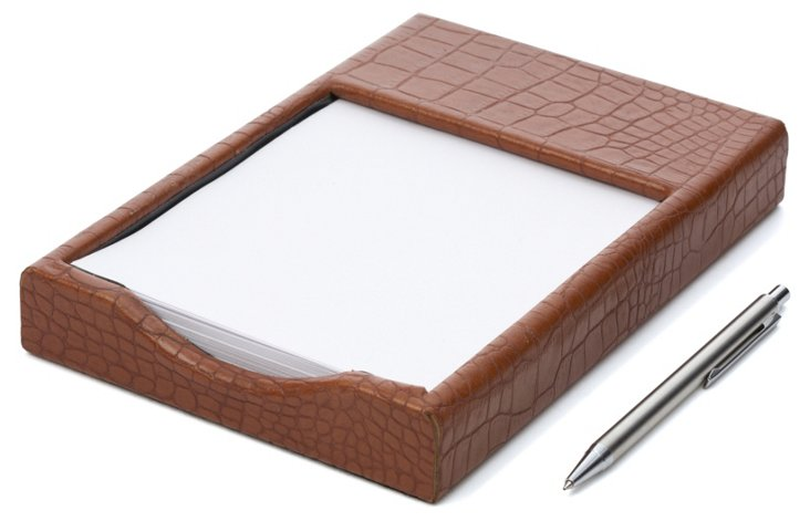 Croco Memo Holder, Tan