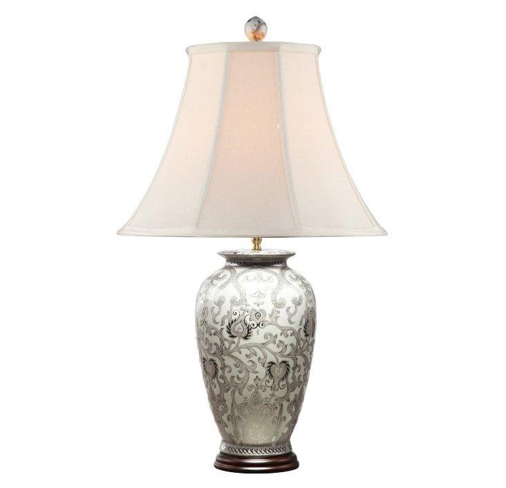 White & Silver Arabesque Lamp, Porcelain