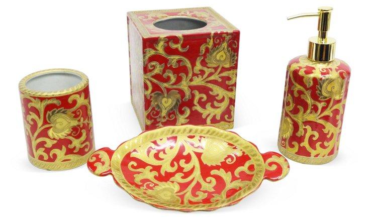 Scroll Bathroom Set, Red & Gold