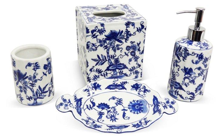 Bathroom Set, Blue & White