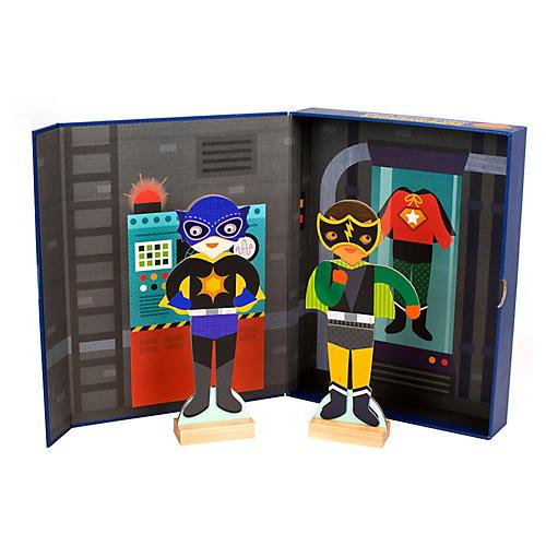 Superheroes Magnetic Toys, Black/Multi