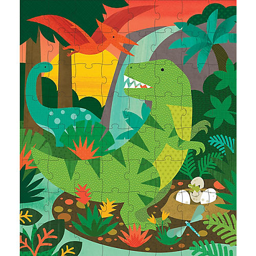 Dinosaur Puzzle Tin & Coin Bank, Green/Multi