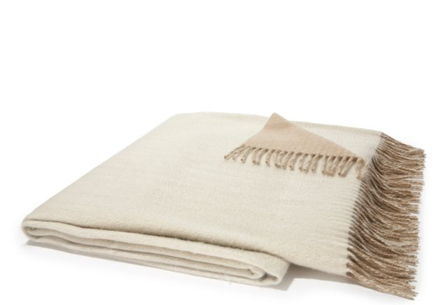 Featherweight Cashmere Throw, Camel