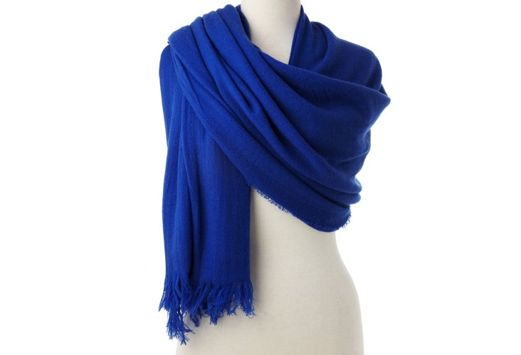 Cashmere Oversize Wrap, Cobalt