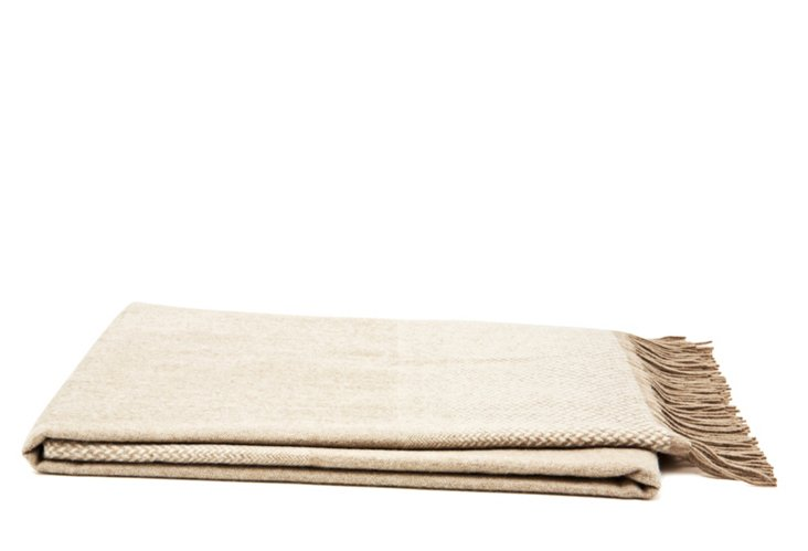 Ombre Herringbone Throw, Camel