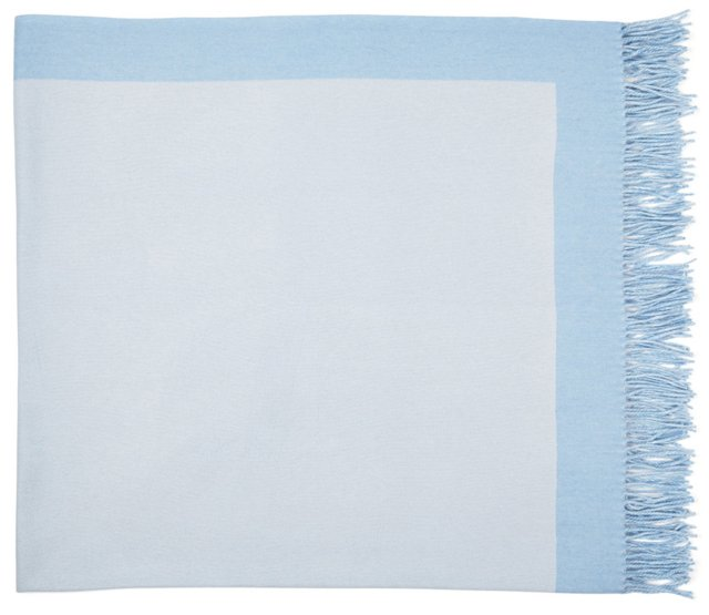 Border Cashmere Throw, Ice Blue