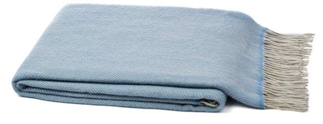 Cashmere-Blend Throw, Light Blue/Ivory