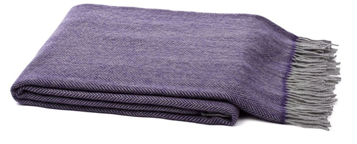 Crafted Cashmere-Blend Throw, Purple