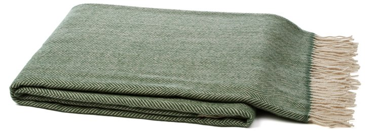 Cashmere-Blend Throw, Green