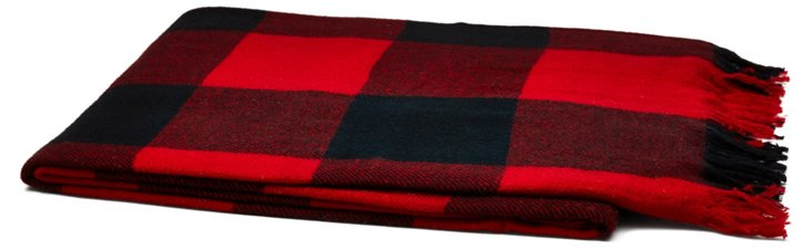 Check Cashmere Throw, Red/Black