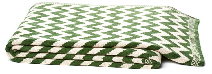 Cotton Chevron Throw, Green