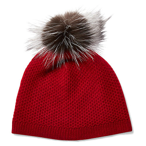 Cashmere & Fur Pom-Pom Hat, Red