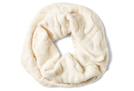 Cashmere Cable-Knit Snood, Gesso