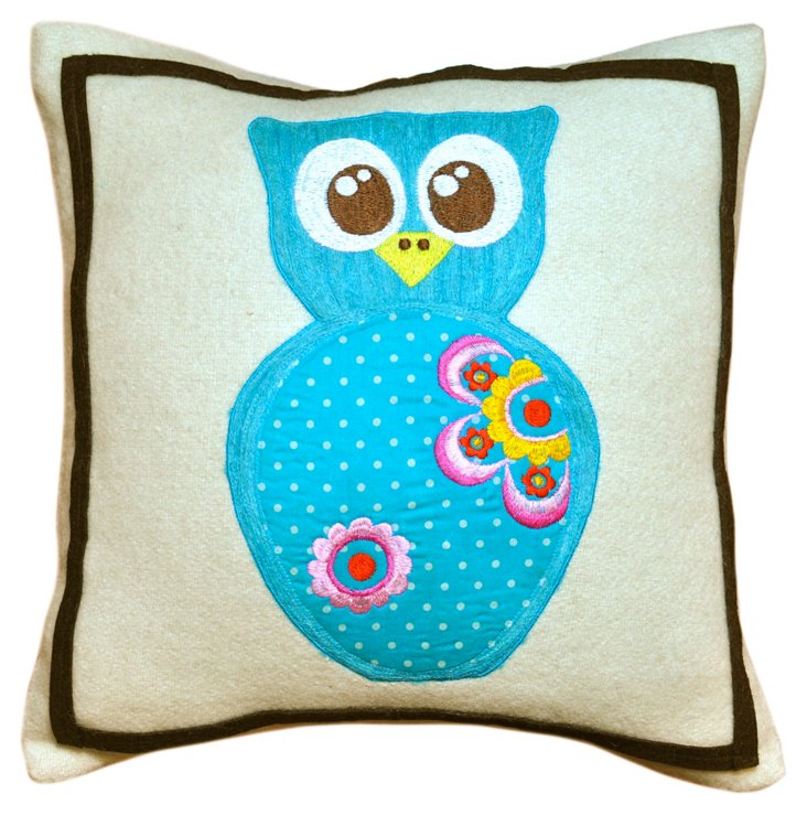 Owl 12 x 12 Wool Pillow